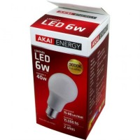 Lampara Led  Akai Energy 6 Watt Smd 3000k/ Luz Calida/ 520 Lm  Caja E27