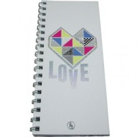 Anotador Alargado 10 X 23 Cm -60hjs Linea Cool Love  Color Surt Espiral