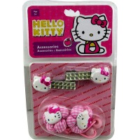 Acc.p/pelo Broches C/strass X2 + Gomitas Elas.c/apliq Hello Kitty Shk 1343 E/bl
