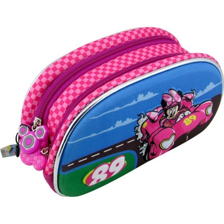 Cartuchera Oval Minnie 3d Neoprene Doble  Cierres Km782