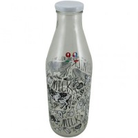 Botella Vidrio Milk Decorada 1ltro.d05015