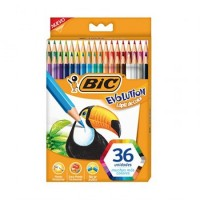Lapiz De Color Bic Evolution Largo Caja X 36 Colores 949570