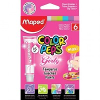 Tempera Color Peps 15ml  X 6 Uni Girls  Metal Surt 826161