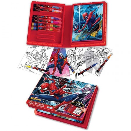 Set De Arte Spiderman  Estuche 10 Marcador/blocksin Vsp03262