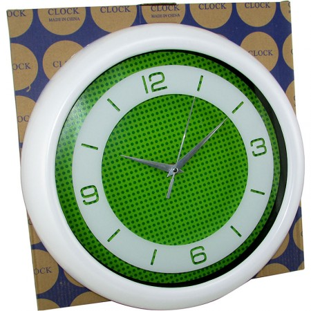 Reloj Pared Redondo 32cm Plast.color/ Fond/lunares   Mp5552 Caja