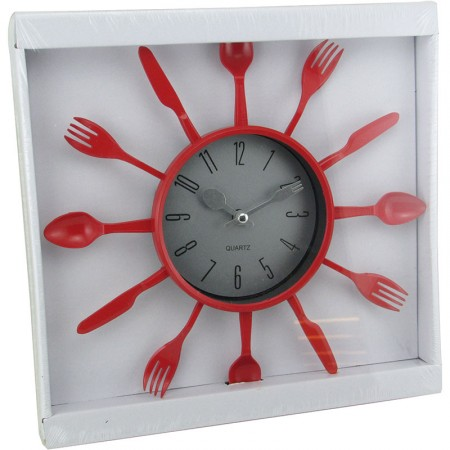 Reloj Pared Redondo 25cm  Det/ Cubiertos/plast.color  Mp5553 Caja