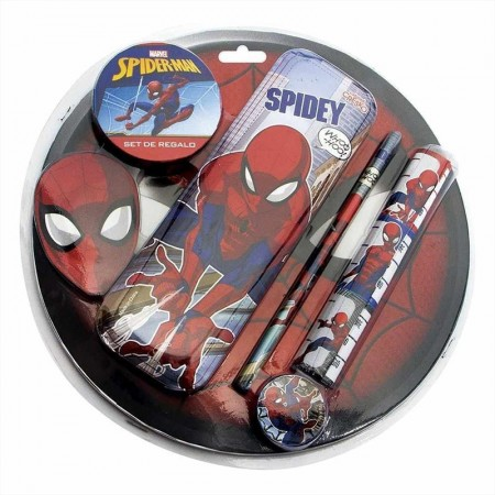 Set Escolar Spiderman Cartucon Lapara Gom/sacap+ 3 Etiquetas Ha063 En Blíster