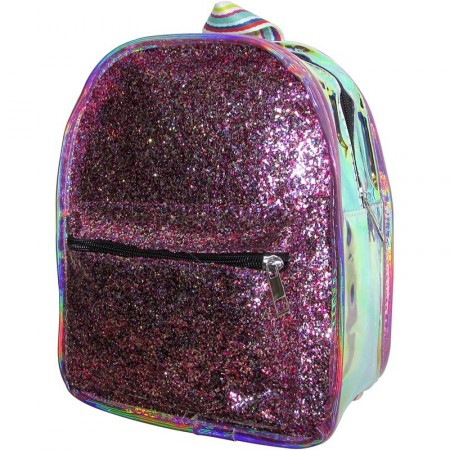 Mini Mochila 26cm Fashion Con  Glitter/metalizado/ 4 Colores Rayado   Mp6215