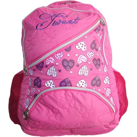 Mochila Espalda 42.5cm Estampara Corazo/rosa/ Purpura/borde    Mp6295