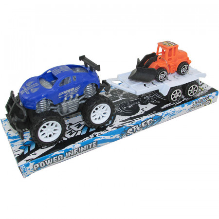 Auto Todo Terreno Speed Con Trailer A Friccion En Burbuja Ab-01673/ab-01674