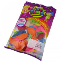 Globos Party Time Standard 9 Colores Surtidoss X 50 Unidadesen Bolsa 55202