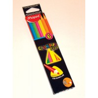 Lapiz Color Fluo Colorpepes Largo X 6 Triang. Maped.832003