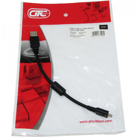 Cable Usb 2.0 Am Micro Usb - 20cm Gtc Bolsa