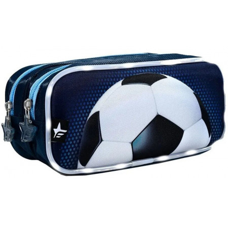 Cartuchera  Futbol Rectangular Doble Cierre Con Led Footy F11052