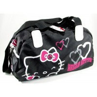 Bolso Oval Hello Kitty  Bco/negro  Lona Mk444