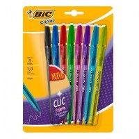 Boligrafo Bic Clic Fashion Retractil Cristal Blister X 8 Surt.937705
